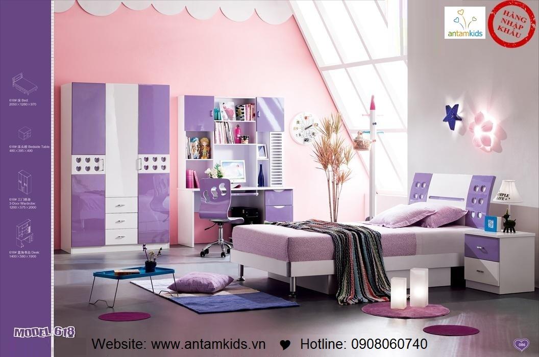 Phòng ngủ trẻ em H618 xinh xắn giá cực tốt| Noi That Tre Em AnTamKids