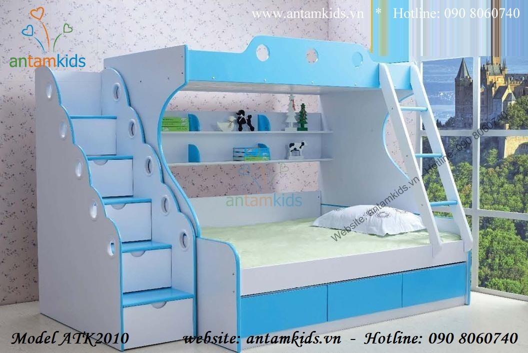 Giường 2 tầng xanh dương ATK2010