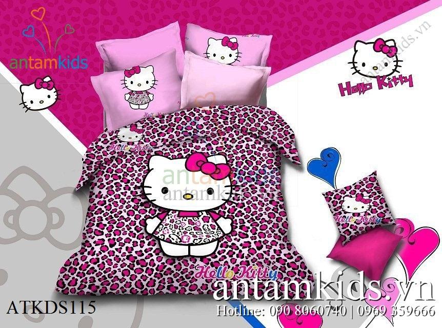 Bộ mền drap Hello Kitty dễ thương, Chăn ga gối hello Kitty cho bé ngủ ngon