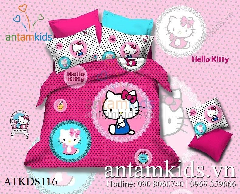 Bộ drap trải giường Hello Kitty, chăn ga gối in hình Hello Kitty cho bé gái