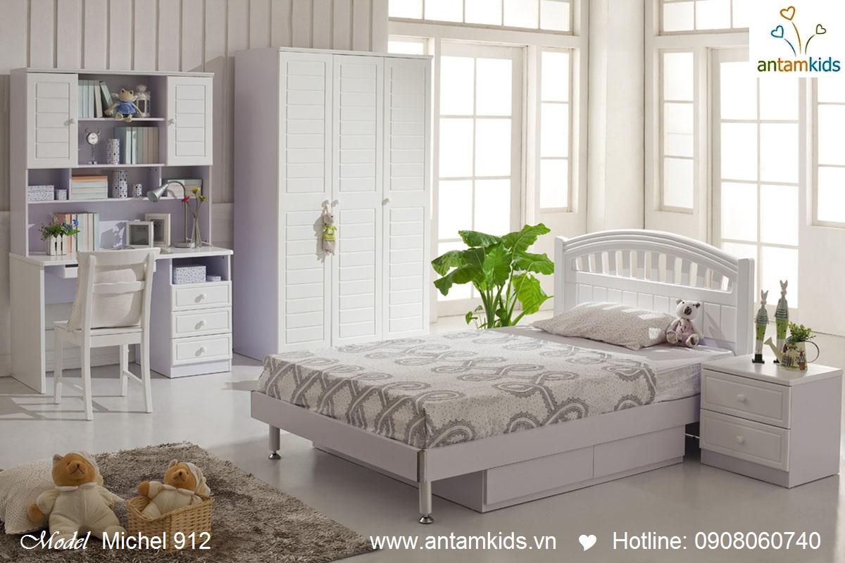 Phòng ngủ cho bé Michael 91 màu trắng đẹp tinh khôi sáng ngời - antamkids.vn
