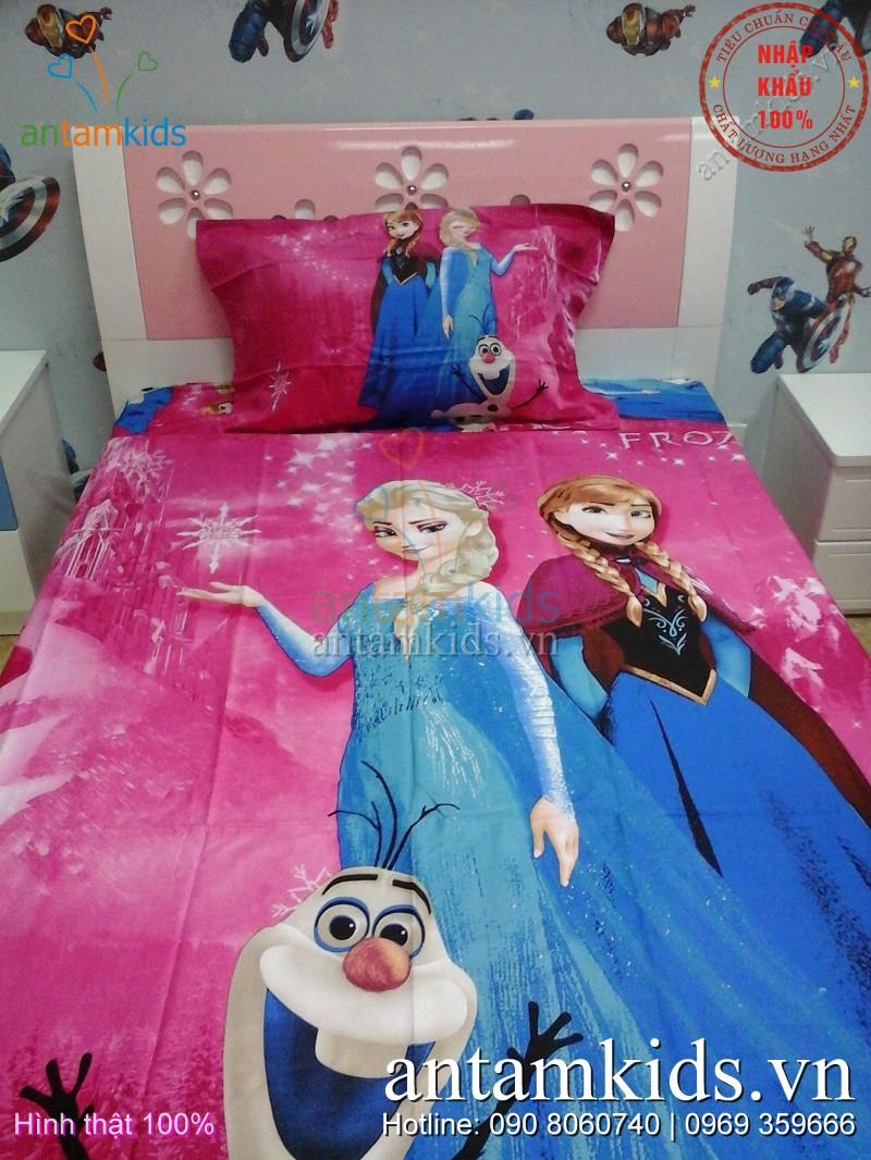 Chăn ga gối Công chúa Băng giá Frozen, Drap men Cong chua Bang gia Frozen AnTamKids.vn