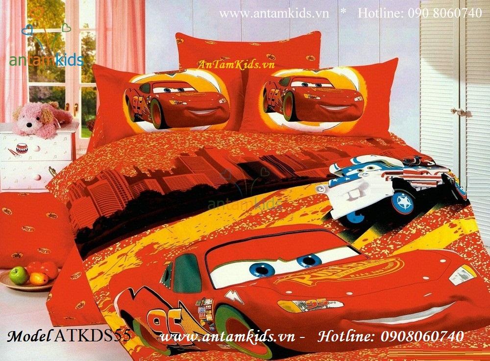 Bộ chăn ga gối ô tô McQueen Disney màu đỏ cá tính đẹp cho bé trai