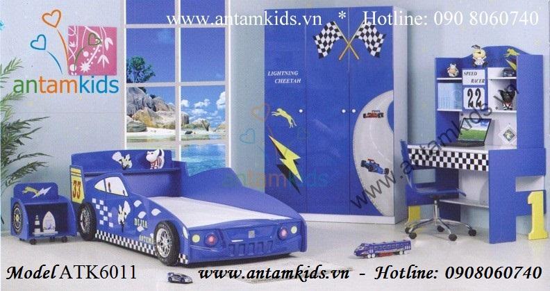 Giường hình xe ô tô cho bé trai mê xe hơi, giường trẻ em hình ô tô, giuong oto