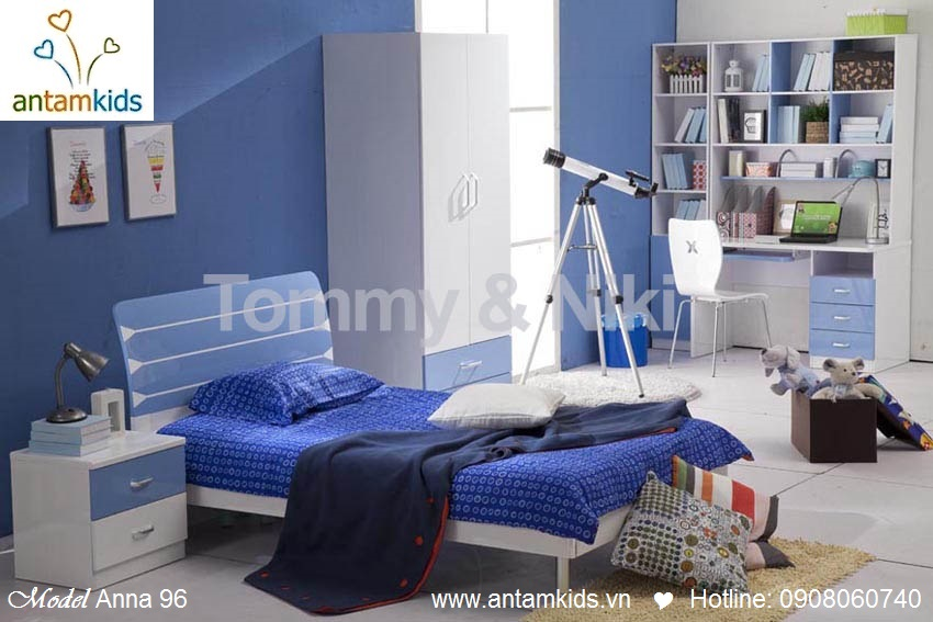 Phòng ngủ cho bé yêu Anna 96 màu xanh đơn giản & siêu đẹp - AnTamKids.vn
