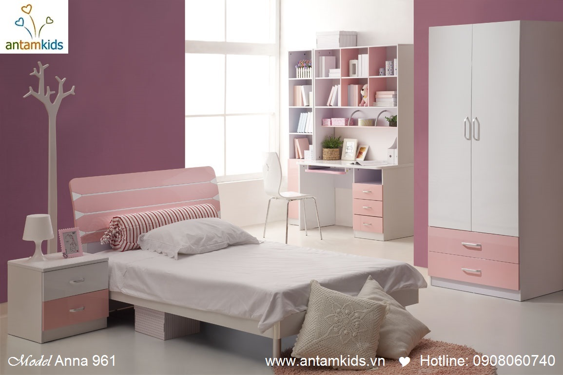 Phòng ngủ cho con Anna 961 màu hồng xinh xắn đáng yêu cho bé gái - AnTamKids.vn