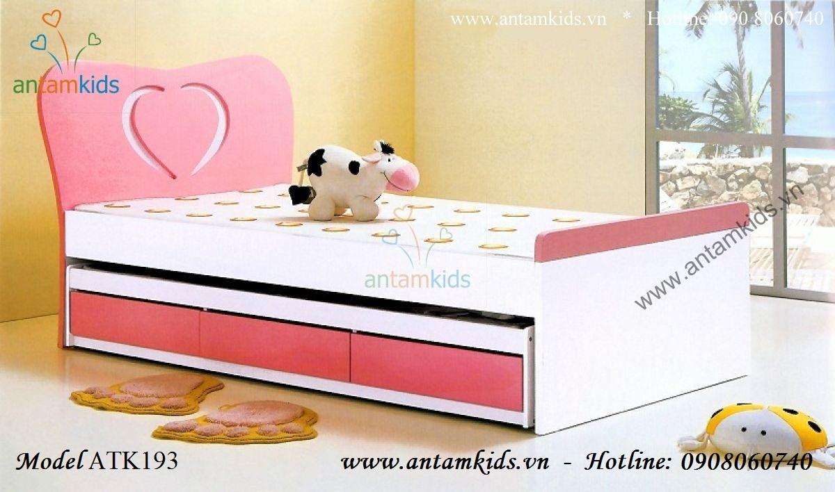 Giường 2 tầng kéo trái tim màu hồng ATK193 cho bé gái