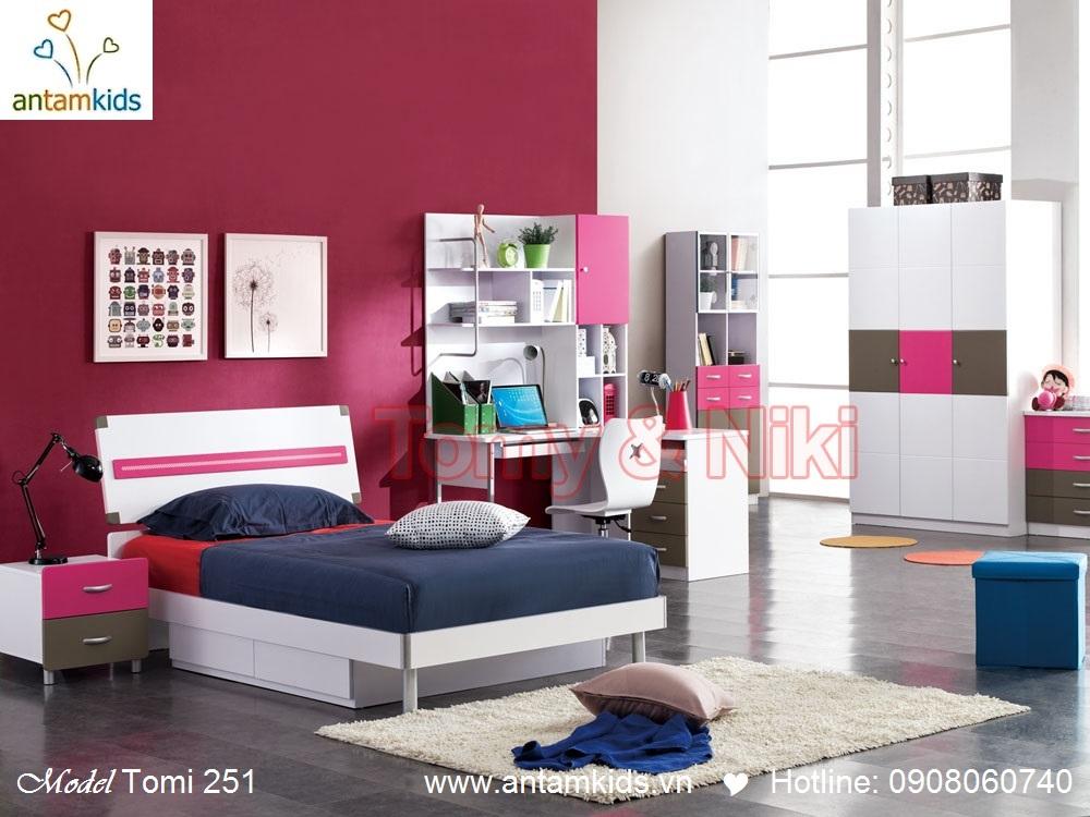 Bộ phòng ngủ cho bé gái Tomi 251 màu hồng cực kute - AnTamKids.vn