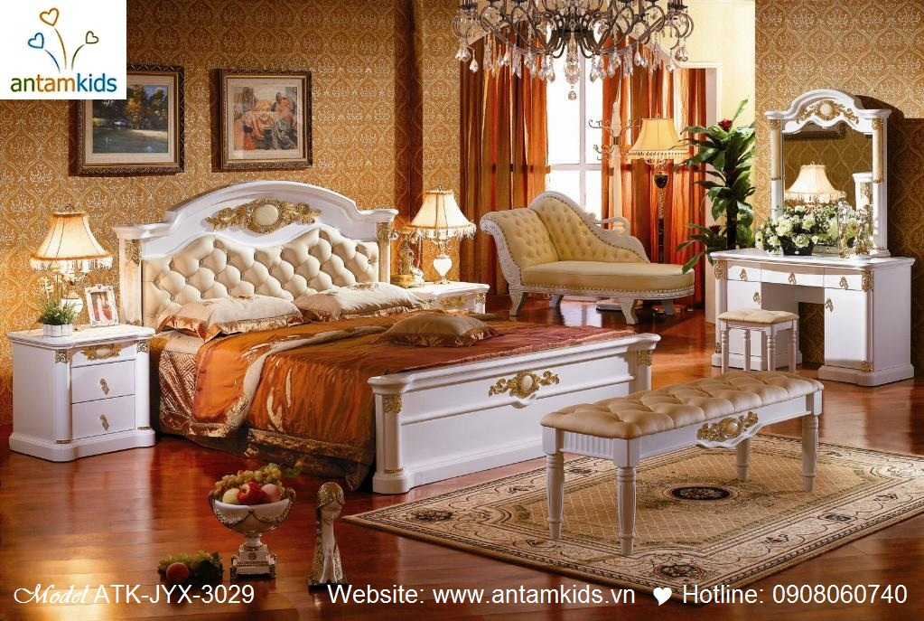 Phòng ngủ cổ điển ATK-JYX-3029 đẹp & sang trọng | Noi That Phong Ngu AnTamKids, thiet ke noi that phong cach co dien