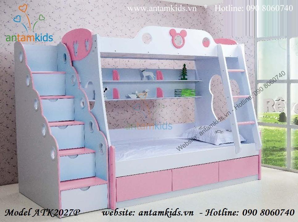Giường 2 tầng Mickey hồng ATK2027P cho bé gái
