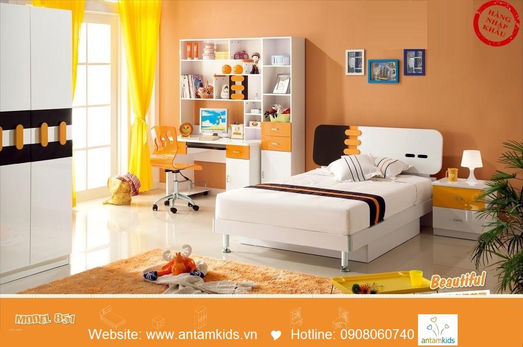 Bộ bàn học trẻ em H851_ban  màu cam xinh xắn giá cực tốt| AnTamKids.vn