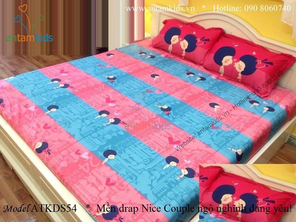 Chăn Mền drap Nice Couple ATKDS54 ngộ nghĩnh đáng yêu xanh hồng dành cho cho bé gái - AnTamKids.vn
