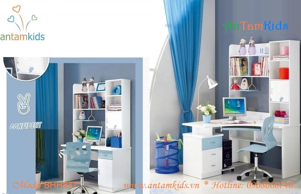 Bàn học BHH837 màu xanh dương nhạt dành cho bé trai bé gái - AnTamKids.vn