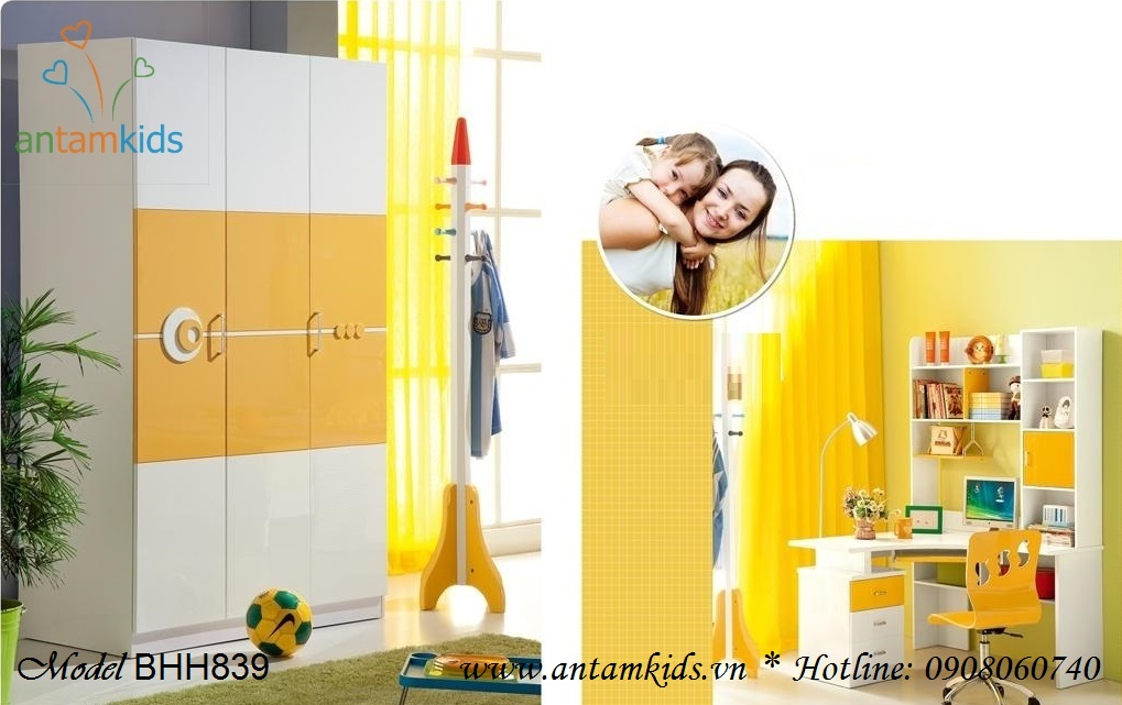 Bàn học rẻ đẹp BHH839 màu vàng xinh xắn đáng yêu phù hợp cho cả bé trai bé gái - AnTamKids.vn