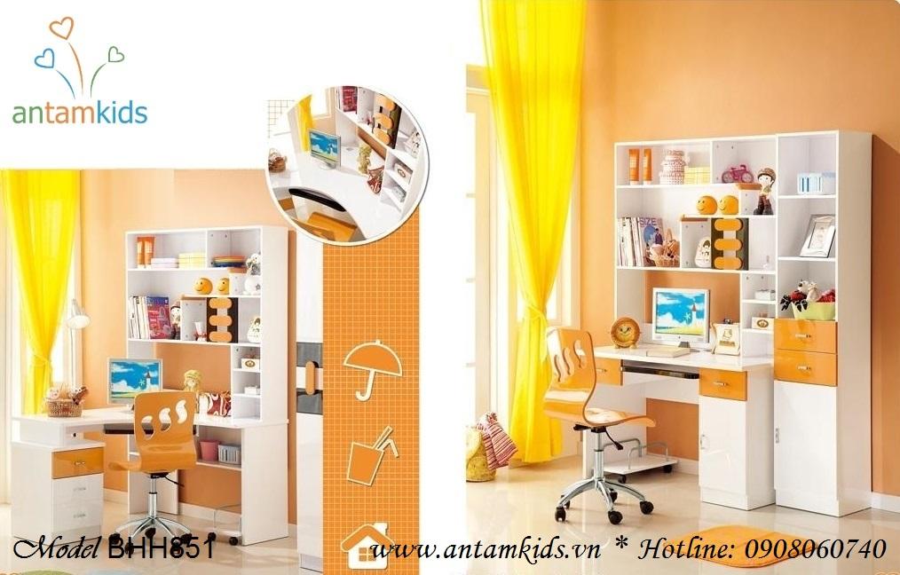Bàn học đa năng BHH851 màu cam cá tính đáng yêu phù hợp cho bé trai - AnTamKids.vn