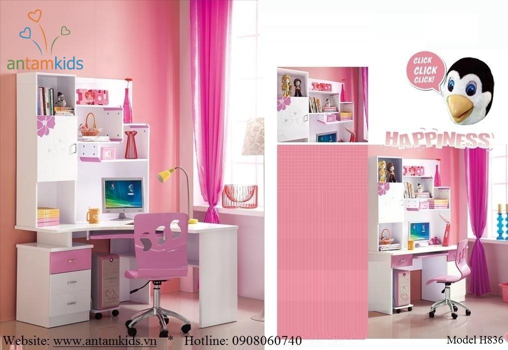 Bàn học trẻ em H836 xinh yêu màu hồng tuyệt đẹp tại AnTamKids.vn - Sản phẩm dành cho bé gái cực kỳ hót trong 10 năm qua tại Việt Nam