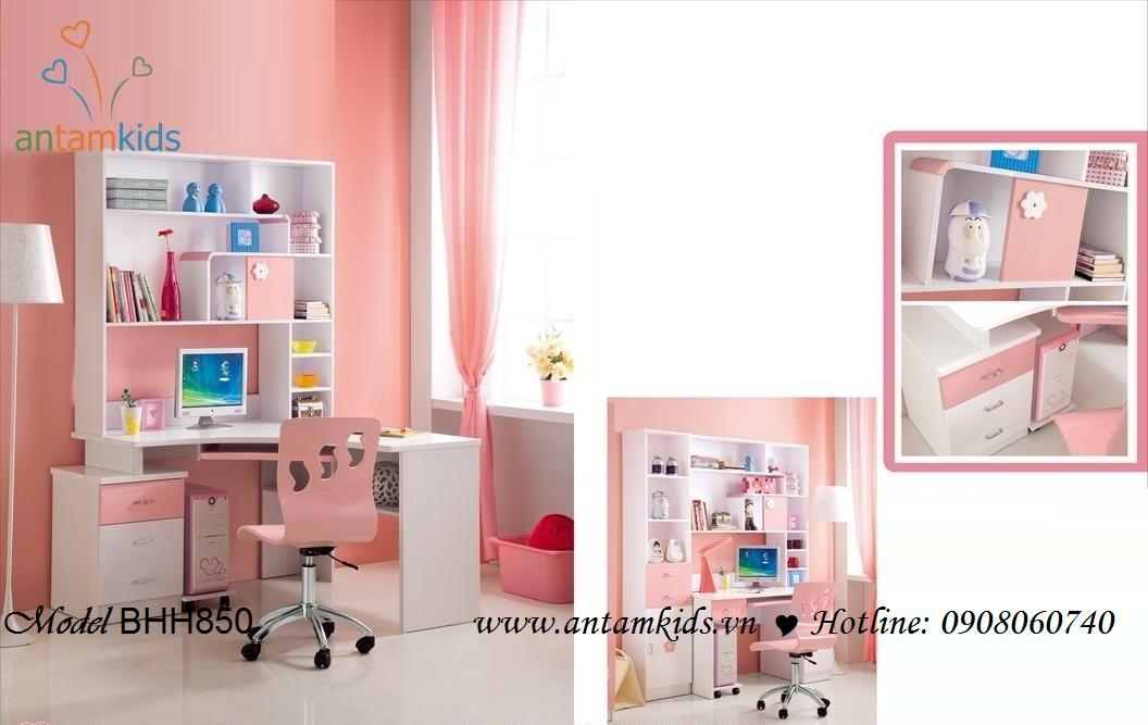 Bàn học cho trẻ em BHH850 màu hồng cực xinh cực kute cho con gái yêu của bạn - AnTamKids.vn