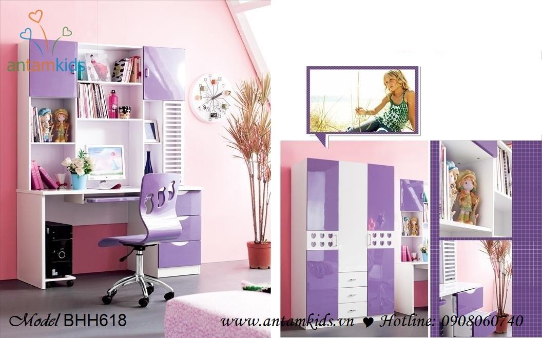 Bộ bàn học trẻ em BHH618 dành cho bé gái yêu sắc tim mộng mơ điệu đà lãng mạn - AnTamKids.vn