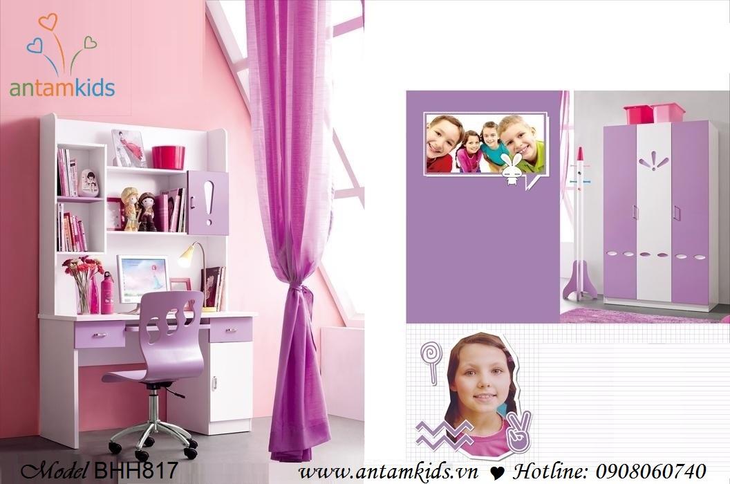 Bàn học trẻ em BHH817 màu tím mộng mơ dành cho bé gái - AnTamKids.vn