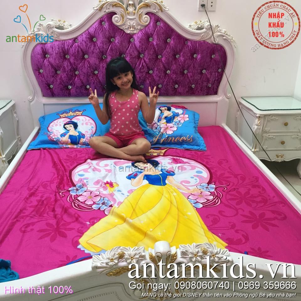 Chăn ra gối drap trải giường Công chúa Bạch Tuyết xinh đẹp cho bé gái