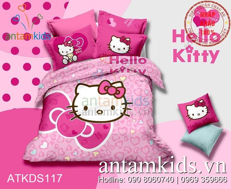 Bộ chăn ga gối Hello Kitty trái tim hồng siêu dễ thương cho en bé gái