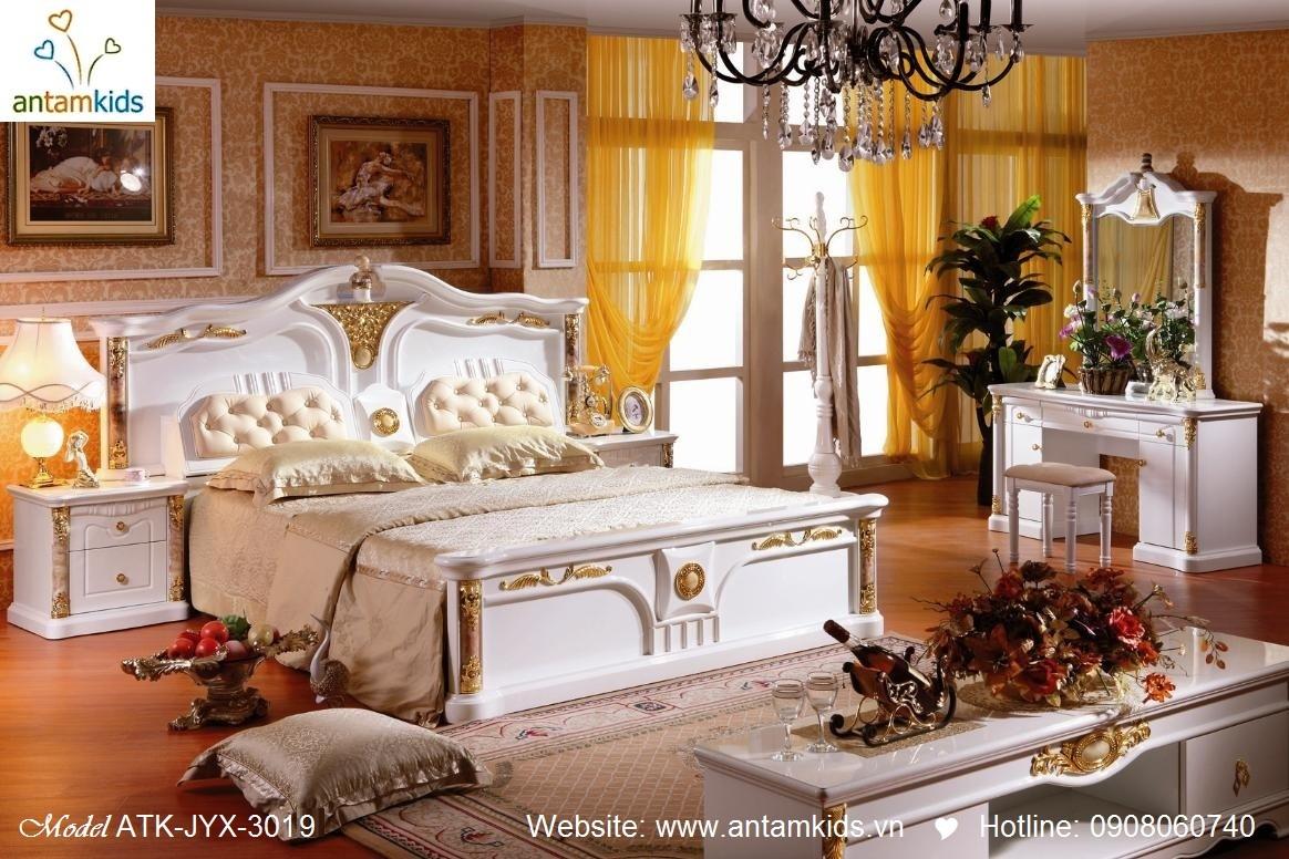 Phòng ngủ cổ điển ATK-JYX-3019 đẹp & sang trọng, Noi That Phong Ngu AnTamKids, noi that co dien, noi that co dien chau au