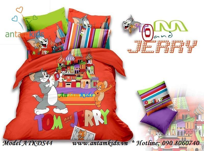 Bộ Chăn drap gối Tom & Jerry màu cam cá tính đáng yêu cho bé ATKDS44