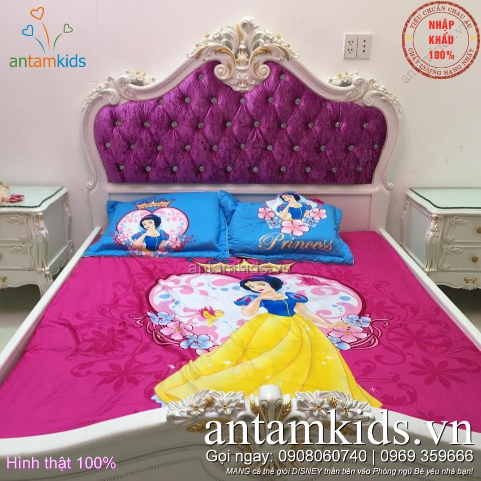 Bộ Chăn ra gối drap trải giường Công chúa Bạch Tuyết  cho bé gái