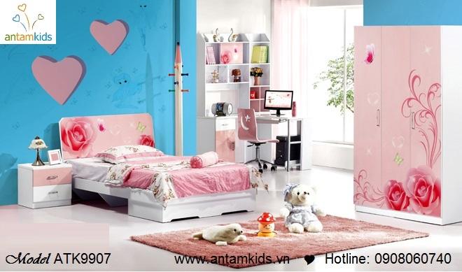 Bộ phòng ngủ trẻ em ATK9907 Rose màu hồng xinh yêu hoạt hình - mẫu mới 2013 - AnTamKids.vn