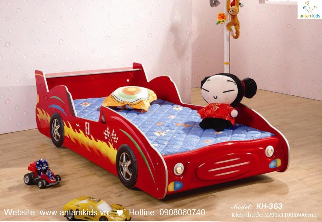 Giường ô tô cho bé KH363, giuong o to, giường cho bé hình ô tô