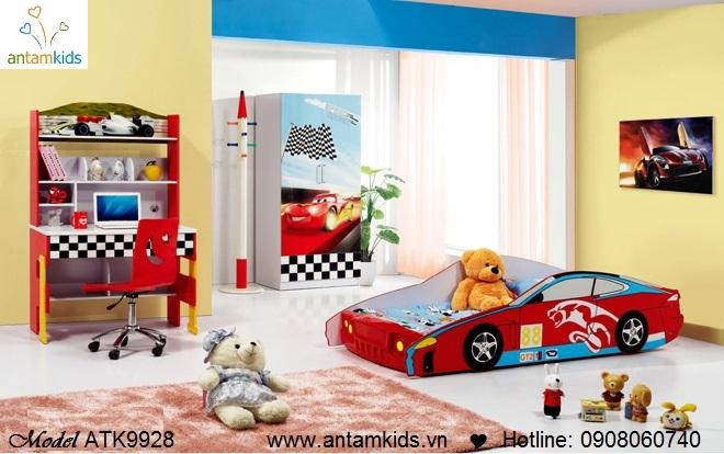 Bộ phòng ngủ trẻ em ATK9928 hình ô tô màu đỏ cá tính đáng yêu cho bé trai - mẫu mới 2013 - AnTamKids.vn
