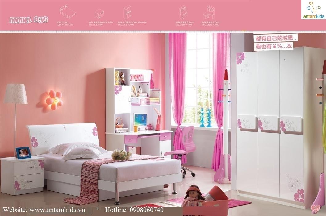 Tủ áo trẻ em 3 cánh màu trắng hồng rất xinh xắn đáng yêu phù hợp cho bé gái - Noi that tre em AnTamKids