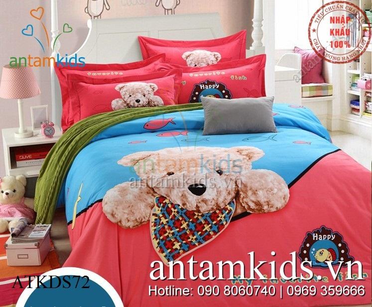 Chăn ga gối hình Gấu Teddy 3D Xanh Hồng ngộ nghĩnh cho bé yêu ATKDS72