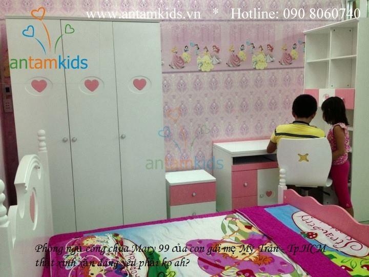 Phòng ngủ công chúa màu hồng cho bé gái Tomy Niki - AnTamKids.vn