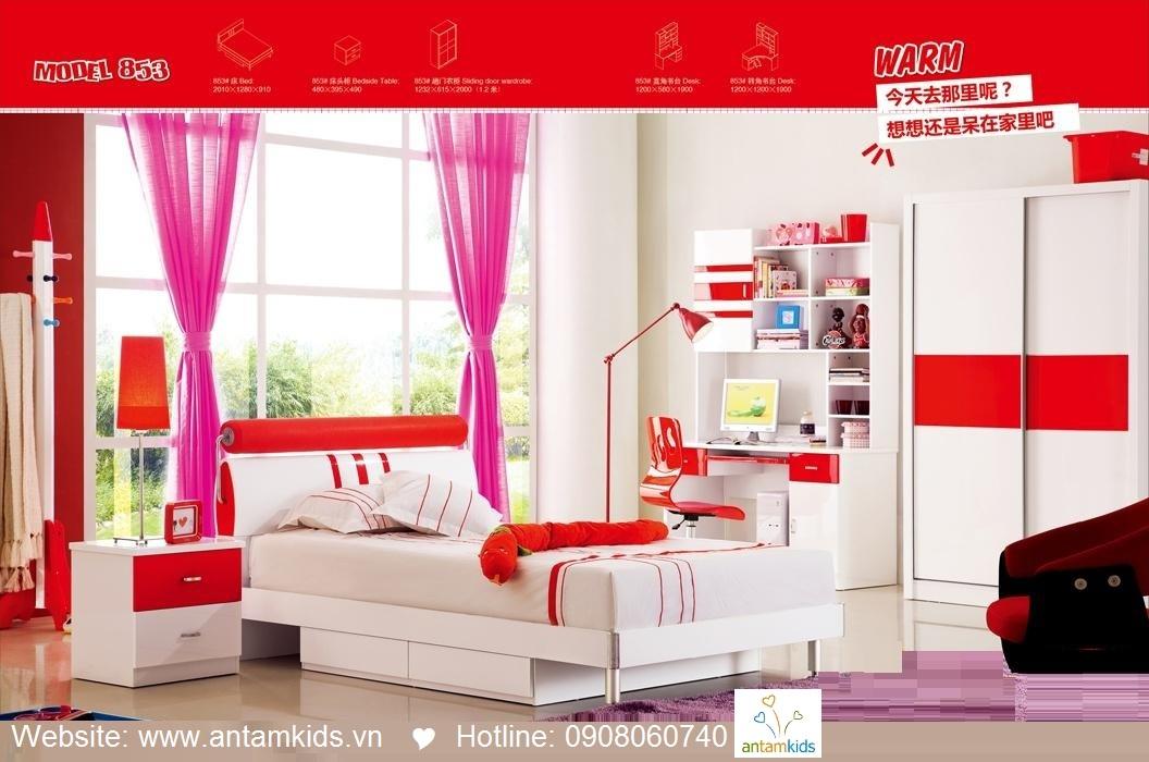 Phòng ngủ trẻ em H853 xinh xắn giá cực tốt| Noi That Tre Em AnTamKids