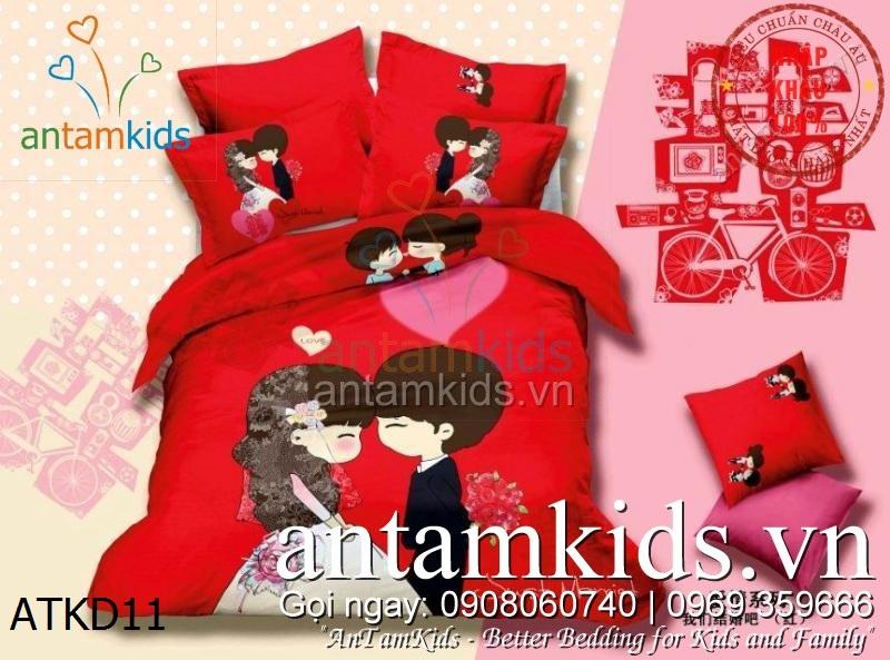 Chăn ga gối đệm hình cô dâu chú rể màu đỏ Red Nice Wedding siêu xinh