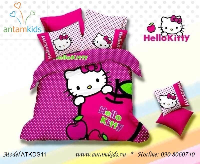 Chăn ga gối hình Hello Kitty chấm bi hồng cực dễ thương cho bé gái