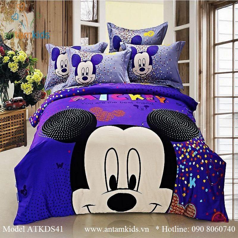 Bộ Mền drap gối cho bé yêu hình Mickey mouse xanh tím cực đẹp