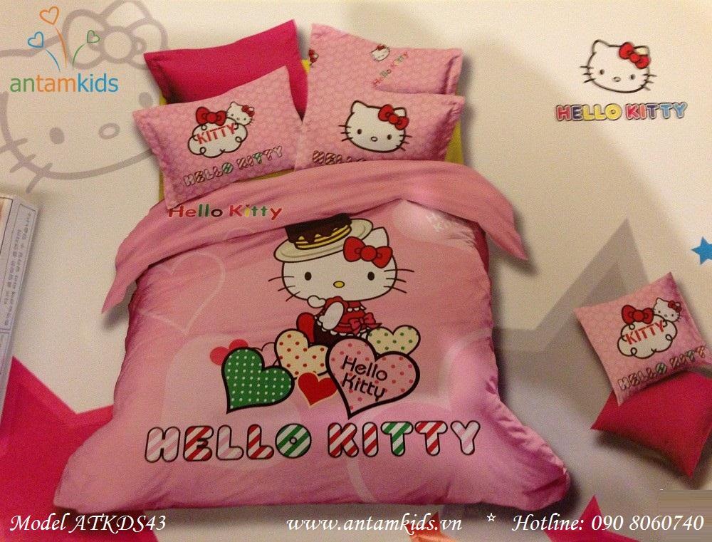 Bộ chăn ga gối Hello Kitty Đẹp Xinh dành cho bé gái, mền drap Hello Kitty