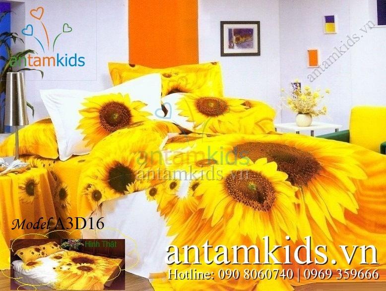 Bộ chăn drap 3D Hoa hướng dương nắng vàng A3D16 - AnTamKids.vn
