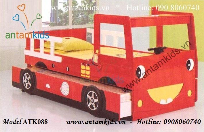 Giường 2 tầng xe Ô tô Cứu hỏa cho bé trai mê xe ô tô, giường tầng hình ô tô