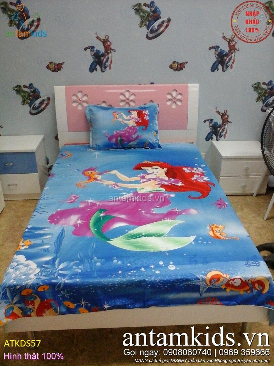 Bộ Chăn ga gối 3D hình nàng Tiên cá màu Xanh dương cực dễ thương cho bé gái
