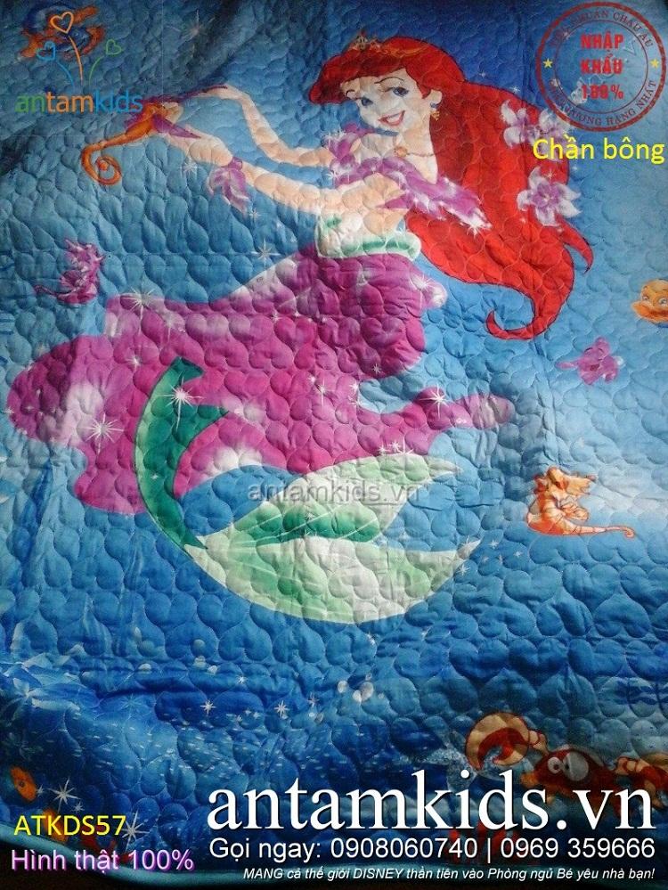 Chăn ga gối hoạt hình 3D hình nàng Tiên cá màu Xanh dương cực dễ thương cho bé gái