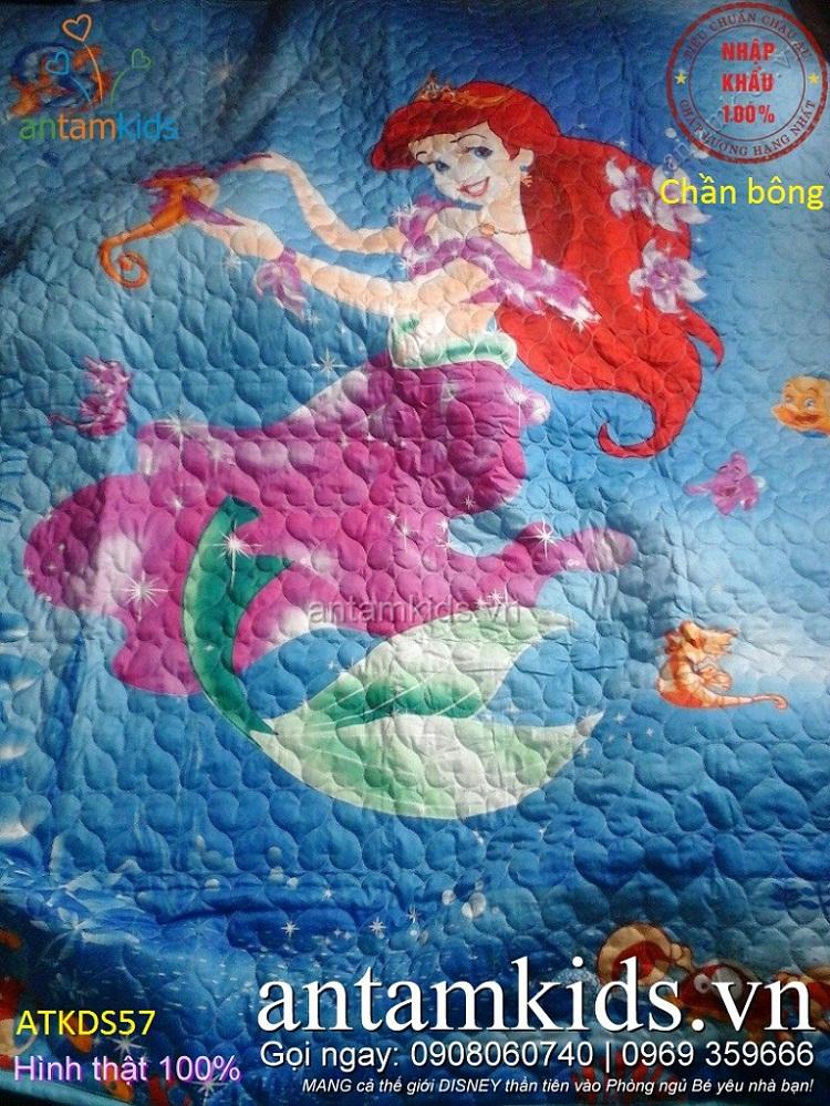 Chăn ga gối 3D trần bông cho bé hình nàng Tiên cá màu Xanh dương cực dễ thương cho bé gái