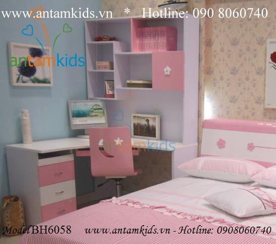 Bàn học cho bé gái màu hồng BH6058 - Bàn học học sinh AnTamKids.vn