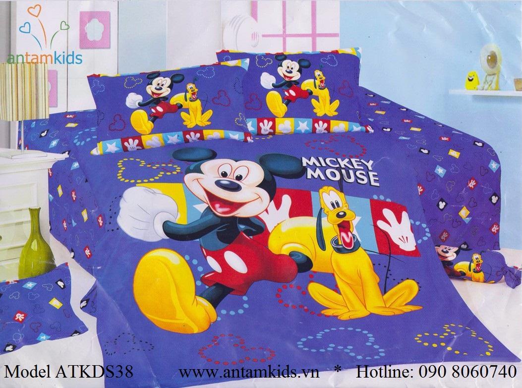 Chăn ga gối Mickey, Bộ drap mền gối hình chuột Mickey màu xanh cực đẹp cho bé yêu