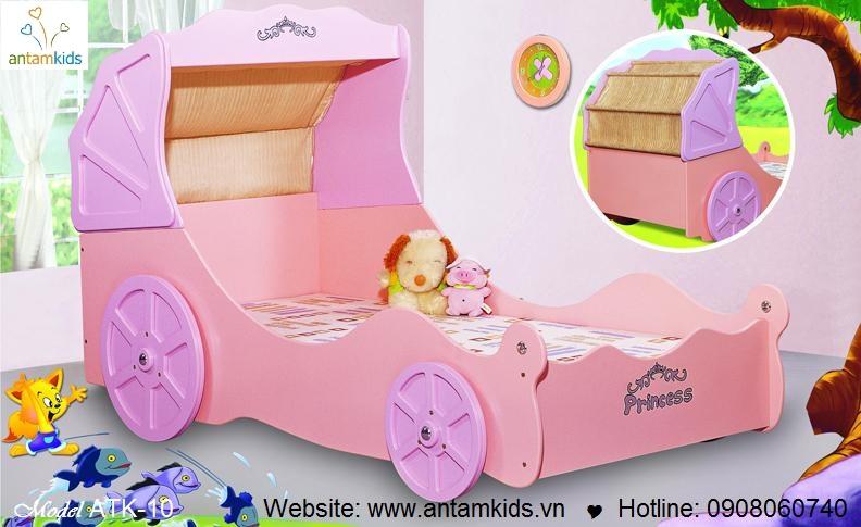 GIƯỜNG XE CÔNG CHÚA ATK-10 - màu hồng xinh cho bé gái   ANTAMKIDS.VN, giuong tre em