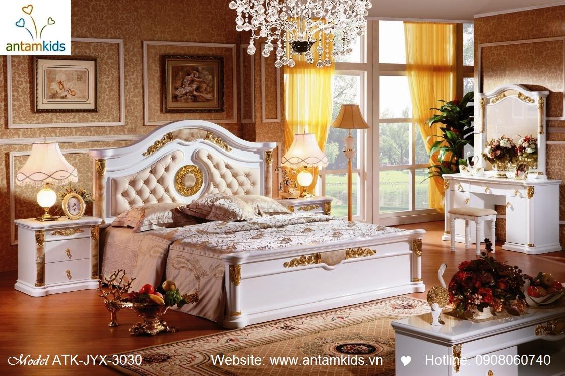 Phòng ngủ cổ điển ATK-JYX-3030 đẹp & sang trọng | Noi That Phong Ngu AnTamKids, noi that tan co dien, giuong ngu co dien