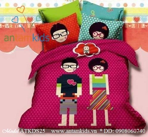 Bộ chăn ga gối hình bé trai bé gái đeo mắt kính, 100% cotton lụa nhập khẩu, mẫu mới nhất 2013    AnTamKids.vn