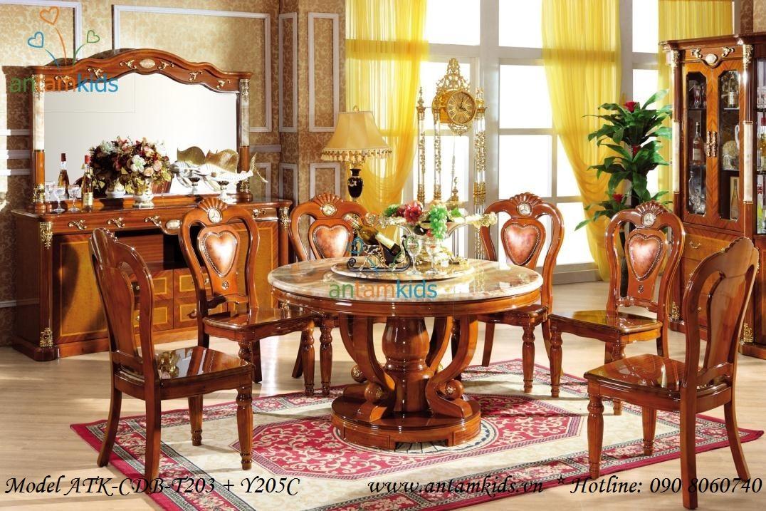 Bộ bàn ăn cổ điển, Bo ban an co dien phong cách Châu Âu AnTamKids
